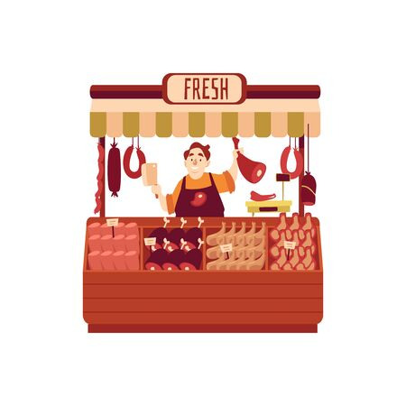 Butcher seller at shop or street marketplace with assortment of meat flat vector illustration isolated on white background. Street store stand of local farmers fair. Illustration