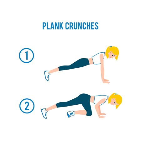Plank crunches - fitness exercise steps for abs and core workout. Cartoon blonde woman in sport clothes planking for healthy body and muscle, isolated flat vector illustration  イラスト・ベクター素材