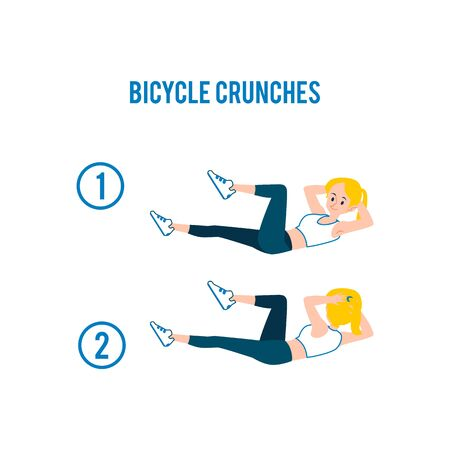 Bicycle crunches of abs workout exercises and fitness training with young blonde caucasian woman or girl. Isolated vector flat cartoon illustration of bicycle crunches.