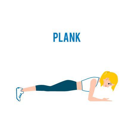 Joven mujer rubia caucásica haciendo ejercicio de tabla en el entrenamiento de abdominales. Una mujer o una niña hace ejercicio en tabla, hace fitness y entrena. Ilustración plana vector aislado en estilo de dibujos animados. Ilustración de vector