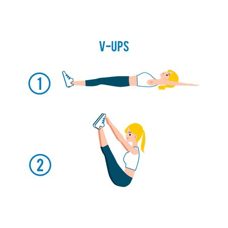 V-ups correct exercise in stages flat vector illustration isolated on white background. Fitness workout for abdominal muscles the banner for healthy lifestyle and sport.