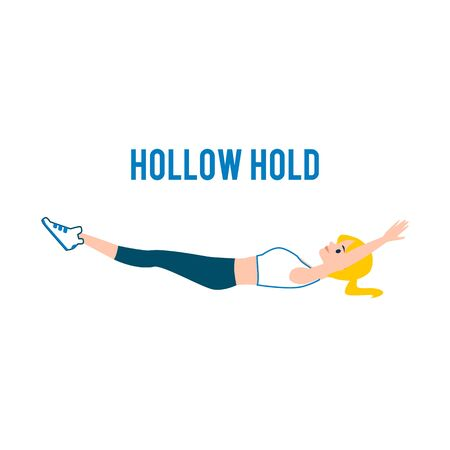 Hollow hold correct exercise image the flat vector illustration isolated on white background. Fitness workout for abdominal muscles explanation banner for wellness and sport.