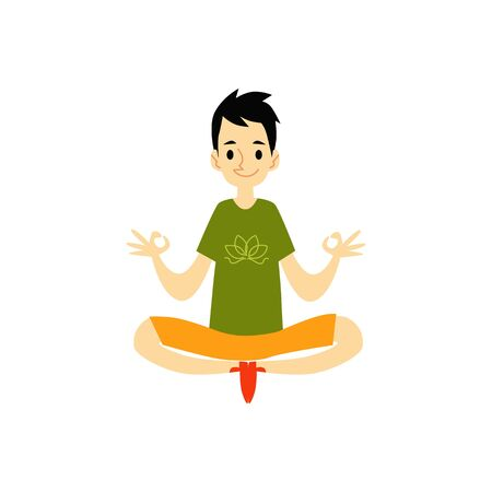 A young man sits in a lotus position and meditates, doing yoga exercises. Isolated vector flat illustration in cartoon style.