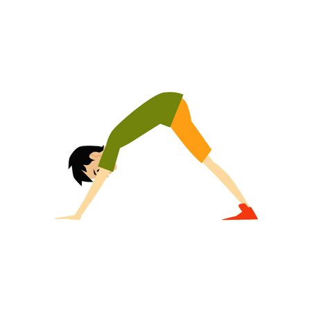 Man or guy doing yoga asana cartoon flat vector illustration isolated on white background. Downwards Facing Dog pose icon for fitness and wellness cards and posters.