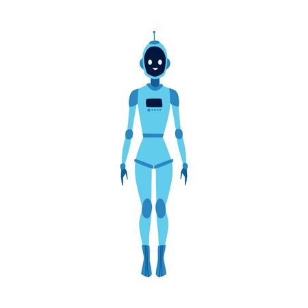 Futuristic cartoon robot woman smiling and standing isolated on white background. Blue cyborg girl with antenna and female human body - flat hand drawn vector illustration