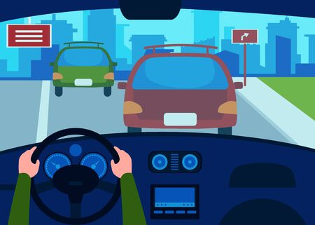 Car interior from the drivers seat with a view on the road and dashboard. Flat vector illustration. Car transport cab and highway design background.