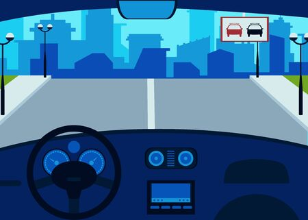 Car interior inside, steering wheel and dashboard, speedometer. View from the interior of the car on the road. Flat cartoon vector illustration.  イラスト・ベクター素材