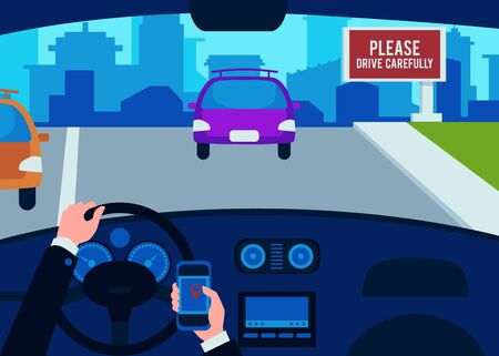 The interior of the car inside, the drivers hands of a man on the steering wheel with a phone and a smartphone, the concept of safe driving. Flat vector illustration with car interior.