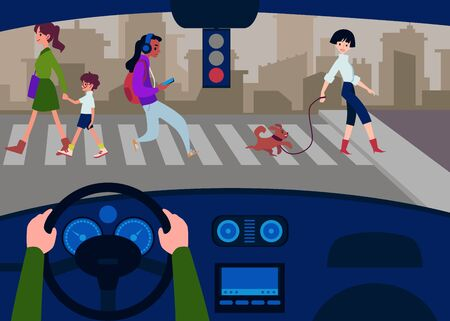 Car interior from the drivers seat with a view on the road, pedestrians are crossed flat vector illustration. Car transport cab and highway design background.