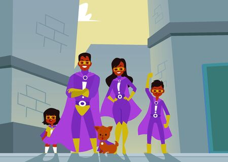 Afro American family of dark skinned superheroes in purple suits and capes. Flat cartoon vector illustration of a family of superheroes on the background of city walls and buildings. Illustration