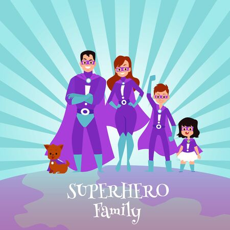 Caucasian family of superheroes in capes. Mom and Dad are superheroes, son and daughter, boy and girl with a dog. Flat cartoon vector illustration of a family of superheroes. Stock Vector - 128900062
