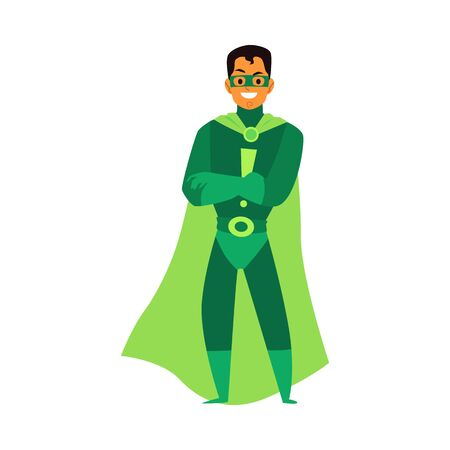 Man brunet asian or latino superhero standing in a green costume, a mask and a cloak. Isolated cartoon vector flat illustration of a male super hero. Çizim