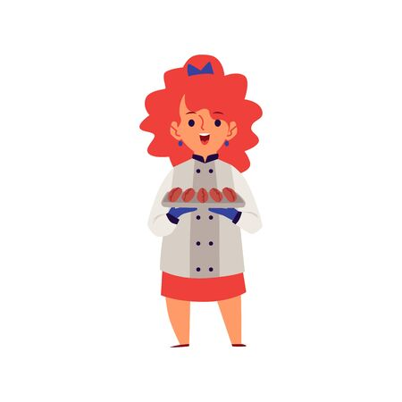 Girl in a professional chef costume cooking cartoon flat vector illustration isolated on white background. Children development, learning and education concept.