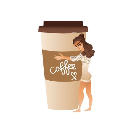 Cute girl hugs giant coffee mug flat cartoon vector illustration isolated on white background. Coffee lover and fun sticker or print for cafe and coffee shop. Ilustração