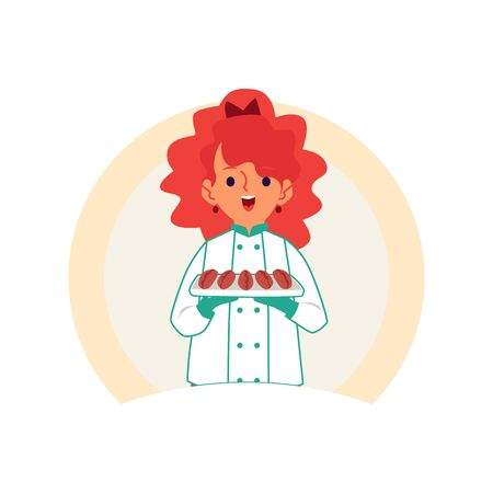 Little Caucasian redheaded girl carries or keeps cakes and pastries on a tray. Children cook concept, isolated vector illustration in cartoon style. Stock Illustratie