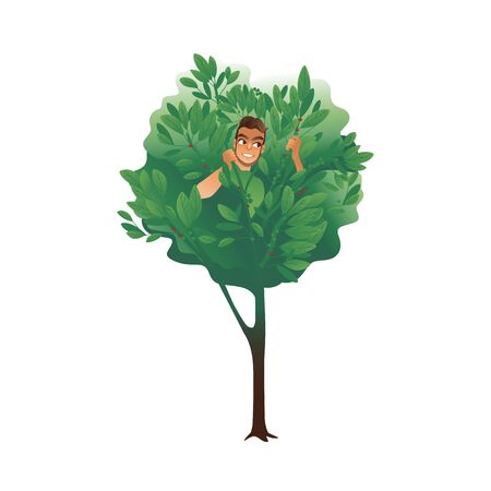 Cartoon man hiding in a tree, summer nature drawing of male character sitting inside branches and leaves smiling and waiting - isolated vector illustration Stock Illustratie