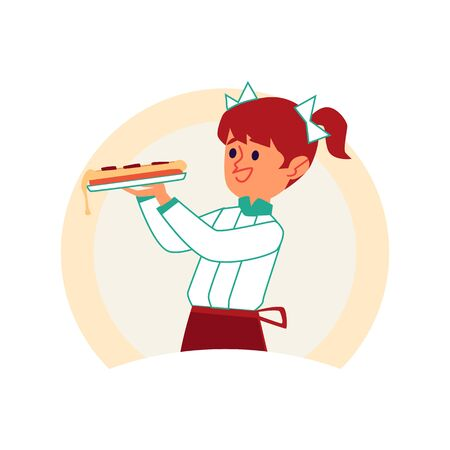 Little caucasian red haired girl with pigtails and bows carries pizza, isolated vector cartoon illustration, concept of children and kids cooks.