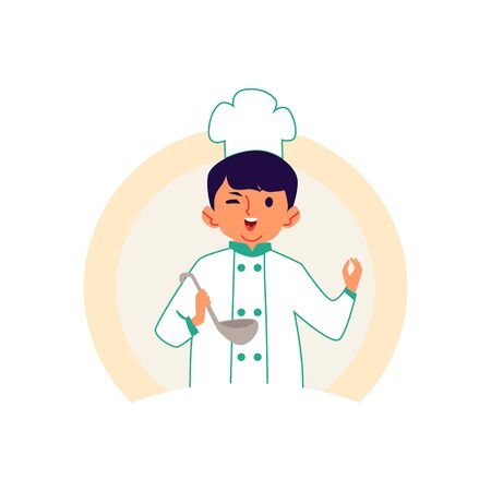 Little boy in a chef robe and hat cooks a meal flat cartoon character vector illustration isolated on white background. Choosing a future profession or cooking master class.