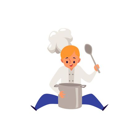 Boy cook in chef hat and uniform cooking food in a pot and looking down on it sitting on the floor. Blond kid holding a spoon, smiling and working - isolated hand drawn flat vector illustration