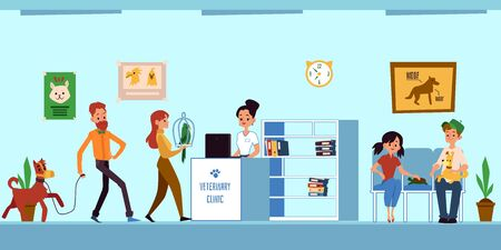 Veterinary clinic reception room queue - animal owners coming to vet appointment with dogs, parrot and turtle. Pet doctor office in hand drawn flat cartoon style - vector illustration