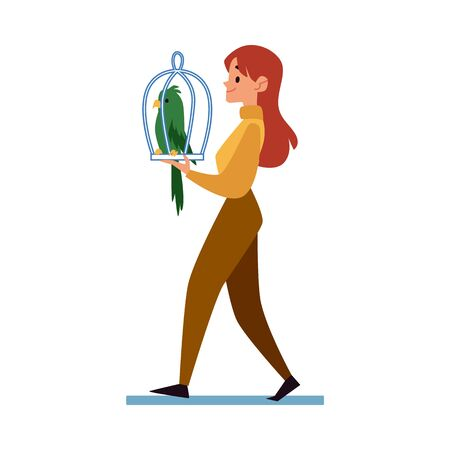 Woman carrying a cage with her pet a parrot to veterinary clinic or taking the bird home after purchase, flat cartoon vector illustration isolated on white background.