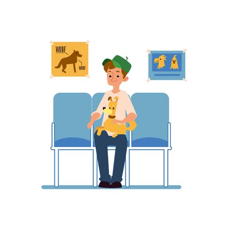 A man with his pet dog sits on a chair and is waiting for reception at the veterinary clinic. Isolated cartoon flat vector illustration.