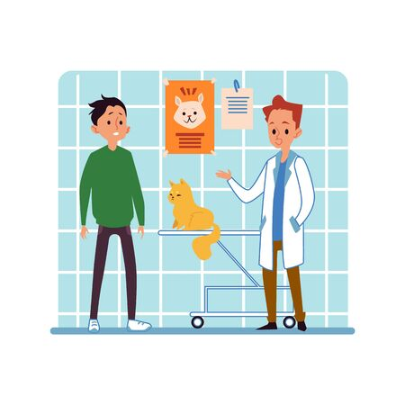 Man and his pet cat in cabinet of vet hospital visiting doctor flat cartoon vector illustration. The scene with animal and his owner in the interior of veterinary clinic. Illusztráció