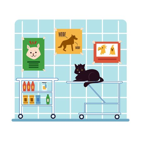 Sick unhealthy domestic animal in cabinet of vet hospital or veterinary clinic waiting for a doctor flat cartoon vector illustration. Cute pet cat gets medical treatment.