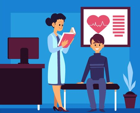 Hospital room - cartoon doctor and patient in a clinic office for medical appointment, cardiology nurse reading a book and man client sitting and waiting. Flat vector illustration.
