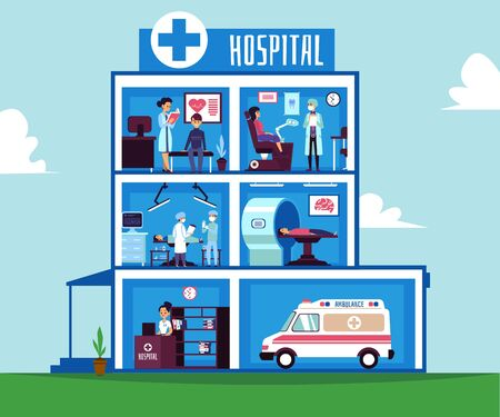 Hospital building - half cut view inside medical facility room interiors. Surgery room, heart doctors office, dentist, MRI machine with doctors and patients - flat cartoon vector illustration