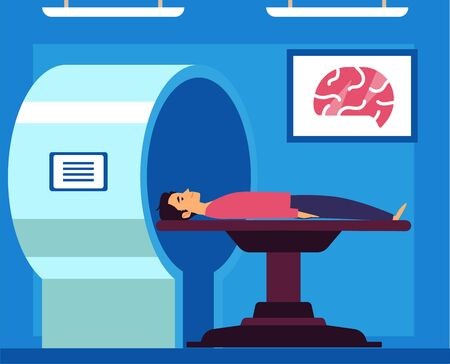 MRT or magnetic resonance tomography the modern medicine exam flat vector concept illustration. MRI procedure - a patient in the scanner in a medical office or laboratory.