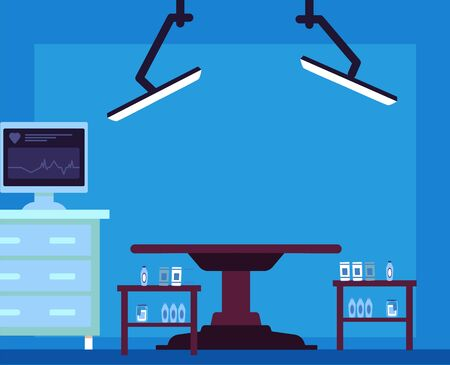 Empty hospital surgery room - flat cartoon interior with medical equipment, patient operation table, heart monitor on computer and lighting. Vector illustration