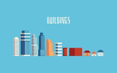 Modern and old buildings or city houses set of flat vector icons isolated on blue background. Cityscape urban architectures elements with skyscrapers and retro houses.