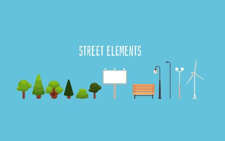 Street elements - isolated city park decoration objects design in flat cartoon style. Single trees, ad banner, wooden bench, lamp posts and windmill - vector illustration Vetores