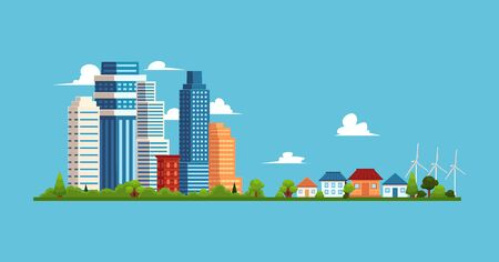 Cityscape with buildings and skyscrapers, small private suburban houses. Small town, suburb and big city concept, flat buildings vector illustration.