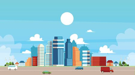 Panoramic urban landscape with high skyscrapers, suburb private buildings and city traffic a flat vector illustration. Town architecture and infrastructure concept. Illusztráció