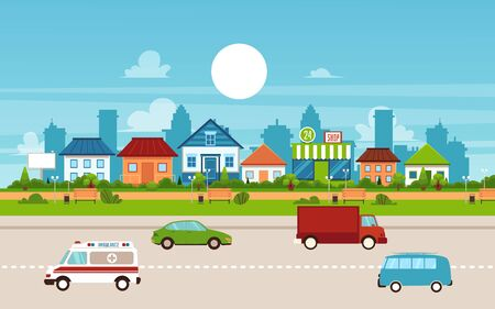 Small town and suburb with private suburban homes and houses. Buildings and road with cars, flat urban vector illustration with cityscape.