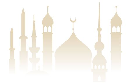 Oriental mosque tower silhouette background with church dome and ornate minaret outlines, beige subtle gradient mist effect for Arab or Muslim religious backdrop - vector illustration
