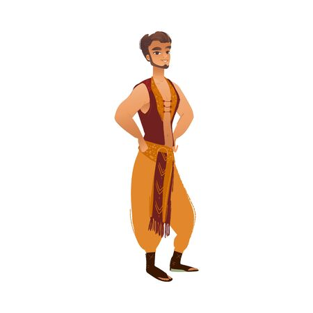 Arabic prince in ethnic Oriental clothes - handsome Arab man standing in confident pose. Persian cartoon character in stylish outfit - isolated vector illustration