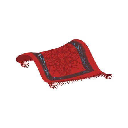Dibujo de alfombra mágica aislado sobre fondo blanco. Alfombra persa roja con patrón de flor mandala oriental adornado - ilustración vectorial de dibujos animados dibujados a mano