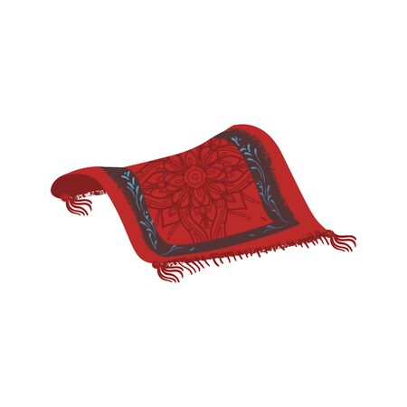 Magic carpet drawing isolated on white background. Red Persian rug with ornate Oriental mandala flower pattern - hand drawn cartoon vector illustration