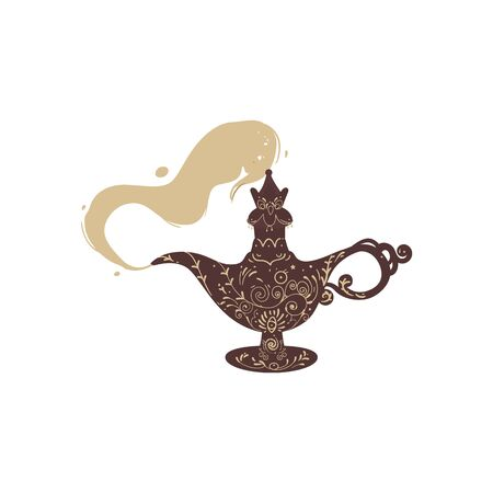 Old magic lamp with gin. From the antique eastern fantasy magic lamp comes smoke. Isolated flat cartoon vector illustration.