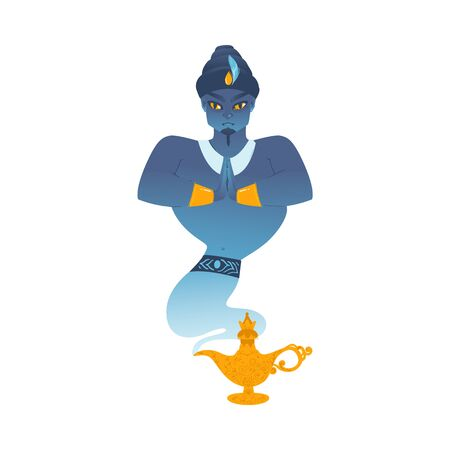 Genie magician of oriental arab tales cartoon character in turban comes out of aladdins lamp flat vector illustration isolated on white background. Stock Illustratie