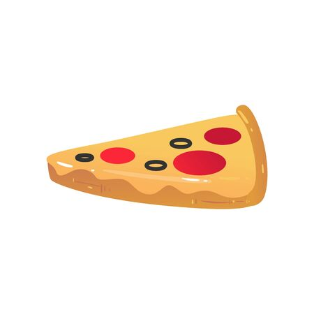 Inflatable pizza mattress for summer pool vacation or sea swimming safety, realistic slice of food made from glossy rubber - isolated cartoon vector illustration
