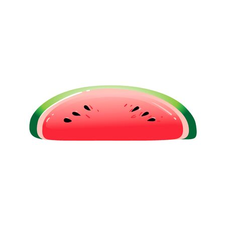 Inflatable rubber glossy slice of watermelon for swimming, mattress and float, isolated vector cartoon illustration.