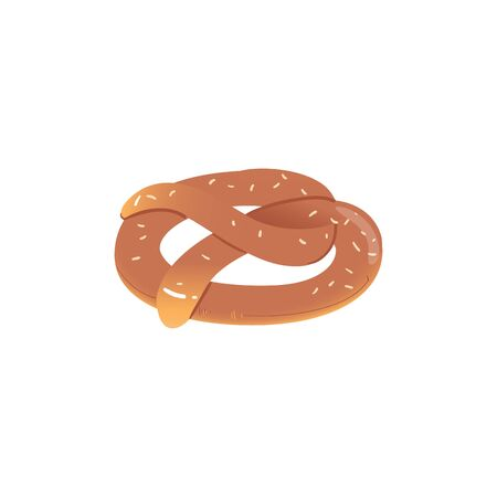 Appetizing Bavarian pretzel icon cartoon vector illustration isolated on white background. Backed pastry food product, delicious german snack for Oktoberfest beer festival. 일러스트
