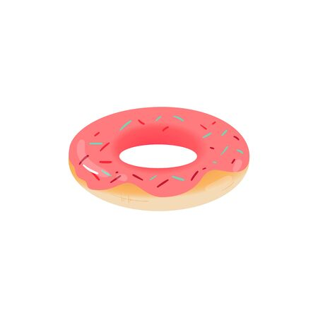 An inflatable glossy ring or circle in the shape of sweets and a donut for swimming in the water and the pool. Isolated vector cartoon illustration of a donut rubber ring. 스톡 콘텐츠 - 128947713