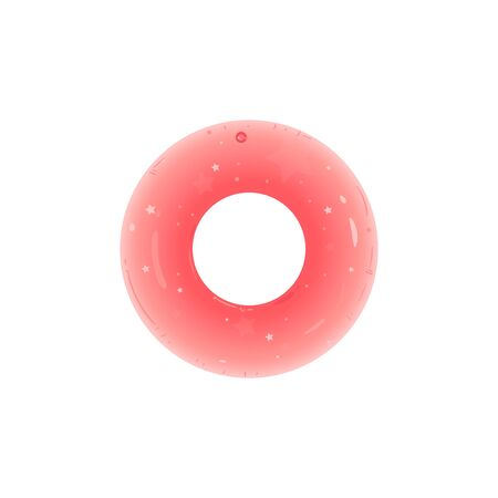 Inflatable rubber swimming ring or glossy toy in a shape of pink donut cartoon vector illustration isolated on white background. Water lifesaving accessory for pool. 写真素材 - 128900639