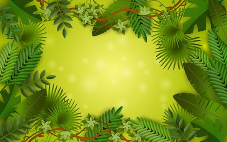 Green tropical jungle frame with lush colorful leaves of different exotic palm trees and plants, liana vine and leaf foliage around blank border - text template vector illustration Illustration