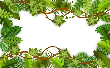 Frame and background of green vines, leaves and jungle plants with blank and empty space, isolated vector flat illustration and background in jungle style.